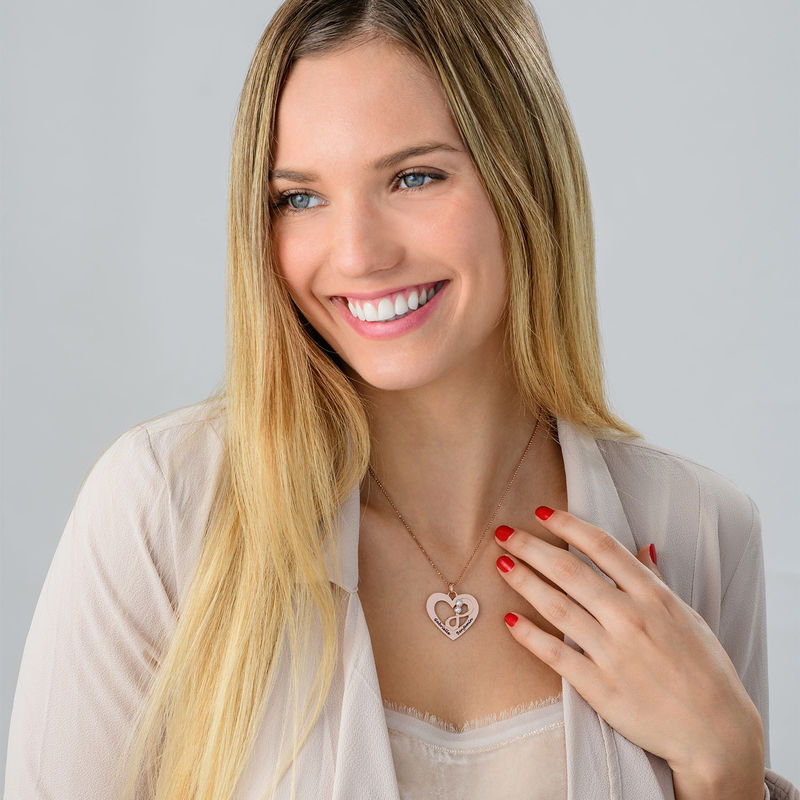 Heart Infinity Necklace in Rose Gold Plating - 3