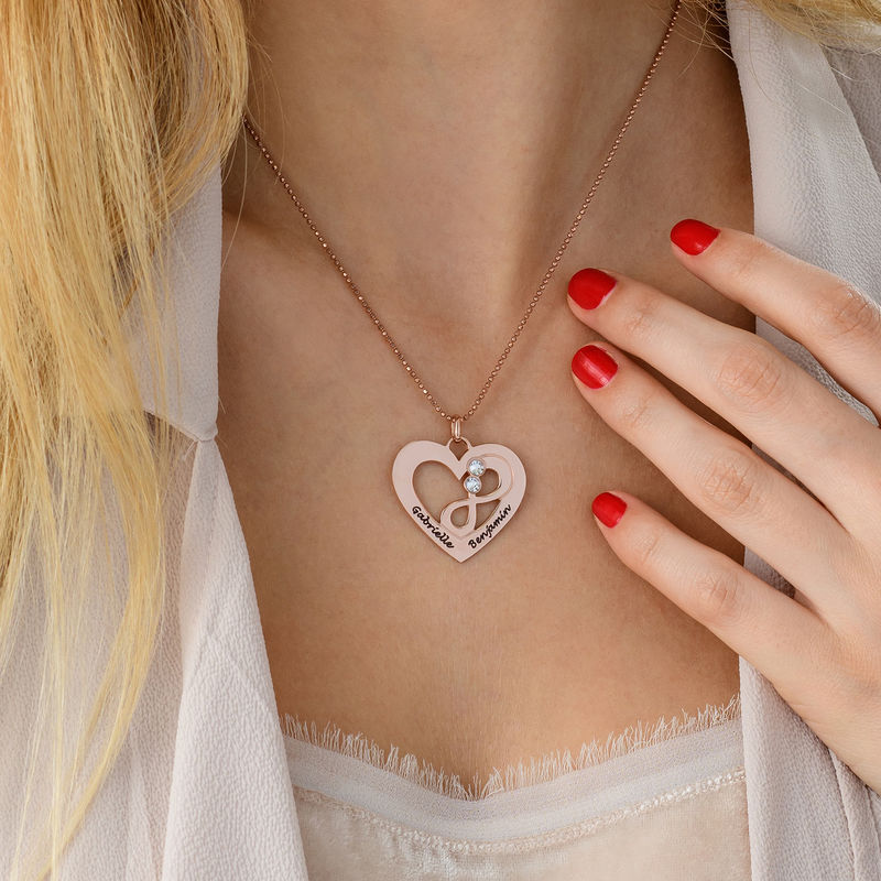Heart Infinity Necklace in Rose Gold Plating - 4