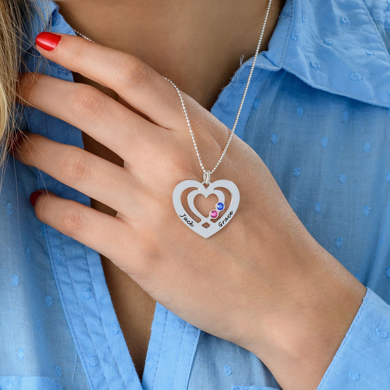 Heart Necklace in Silver with Birthstones - 3