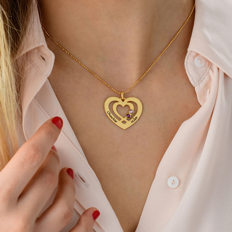 Heart Necklace in Gold Plating with Birthstones - 4
