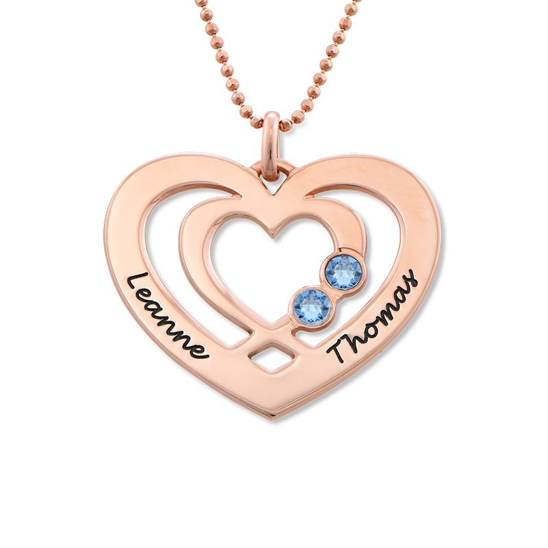 Heart Necklace in Rose Gold Plating with Birthstones