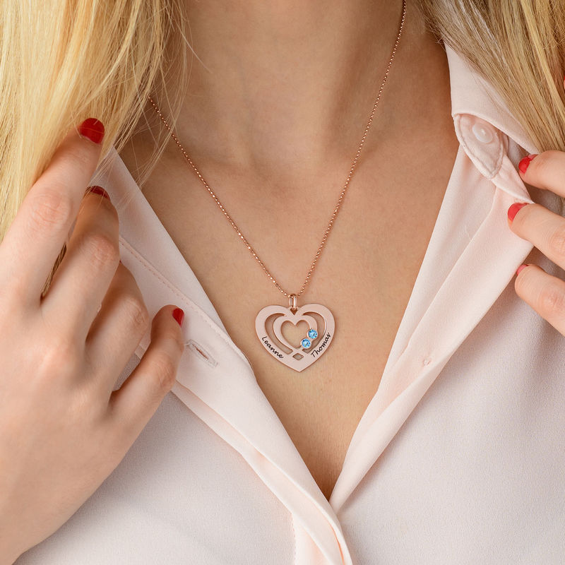 Heart Necklace in Rose Gold Plating with Birthstones - 3