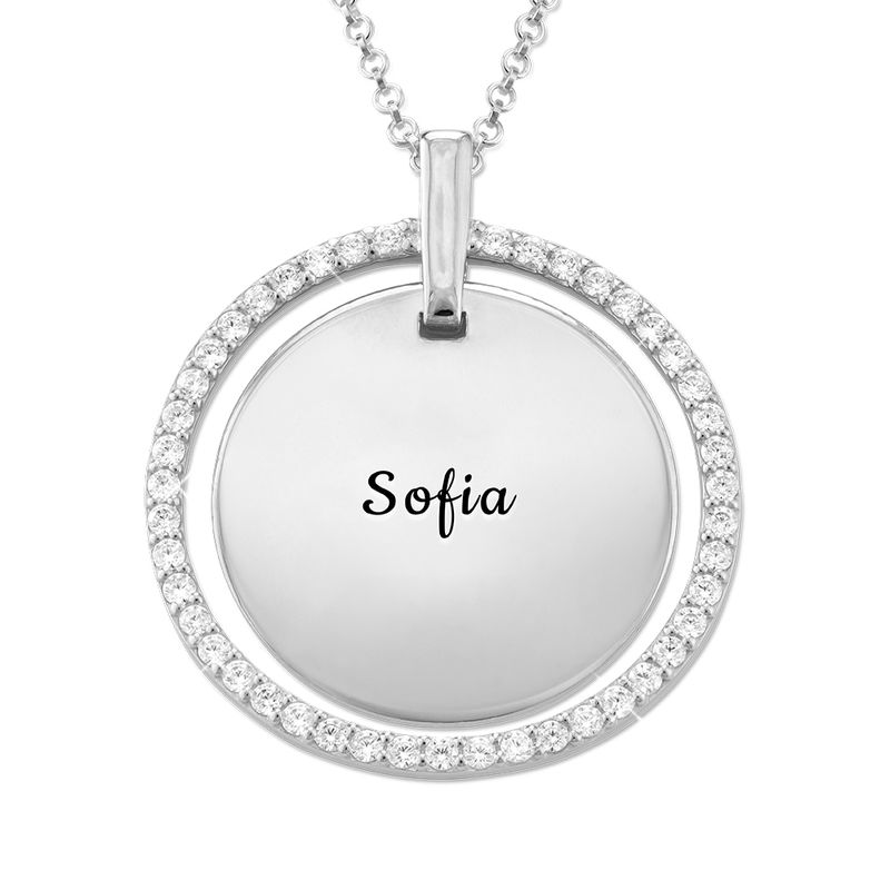 Engraved Mother Disc Necklace with Crystals in Silver - 1