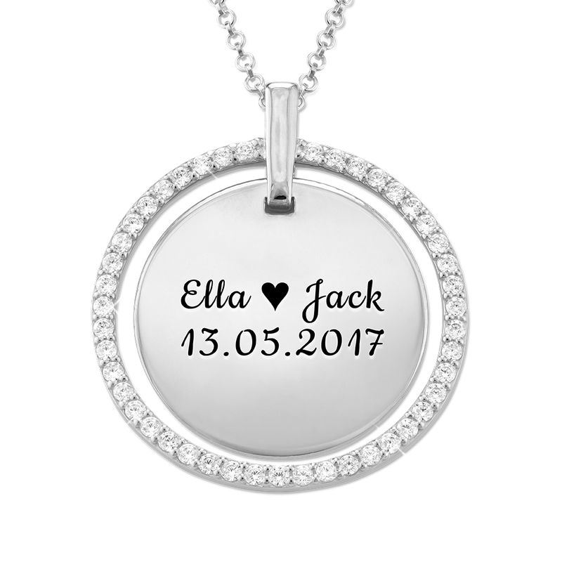 Engraved Mother Disc Necklace with Crystals in Silver - 2