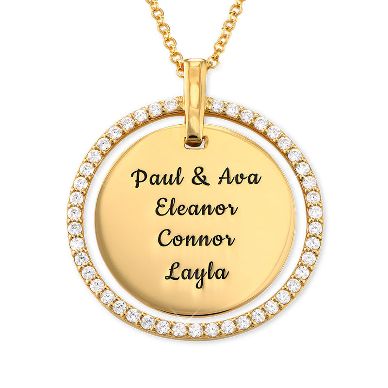 Engraved Mother Disc Necklace with Crystals in Gold Plating