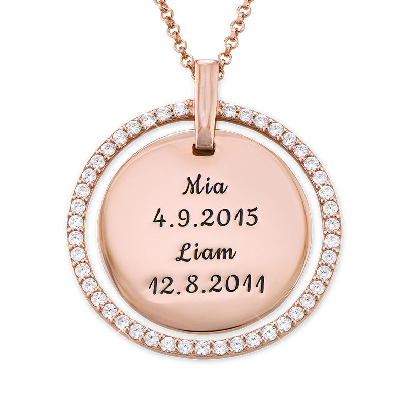 Engraved Mother Disc Necklace with Crystals in Rose Gold Plating