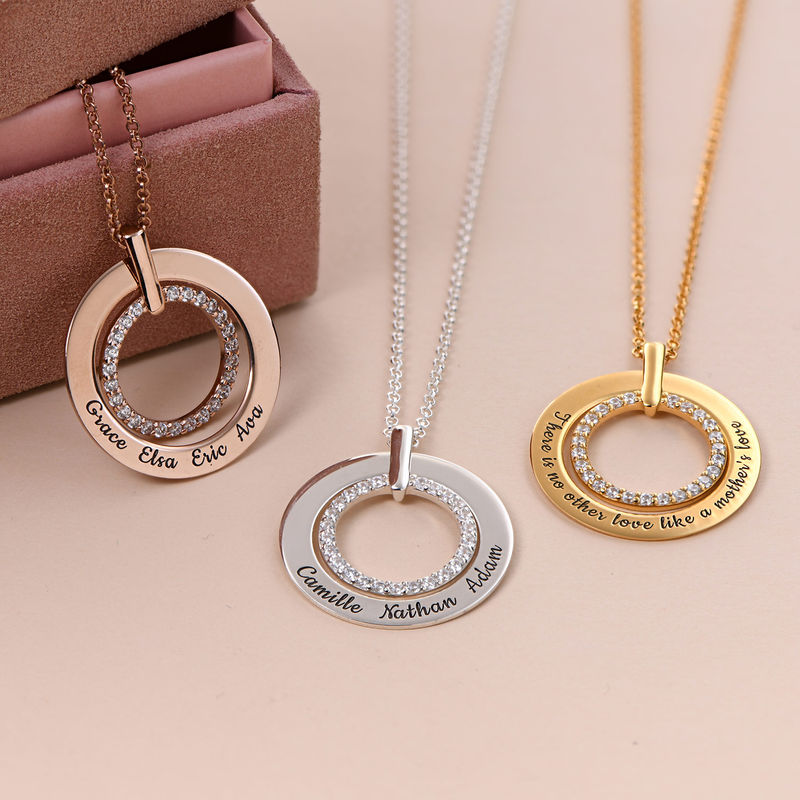 Engraved Circle Necklace in Gold Plating - 1