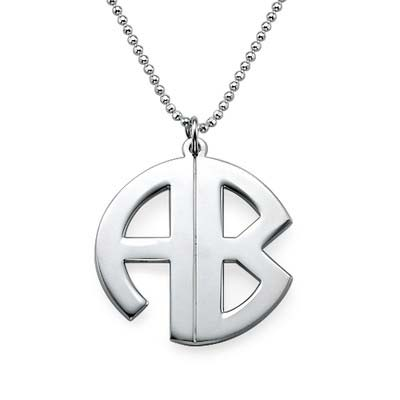 Personalized Sterling Silver Block Monogram Necklace - 1