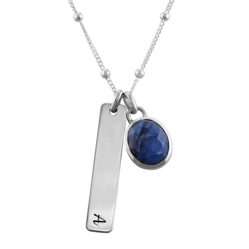 Bar Necklace in Silver with Semi-Precious Gemstone