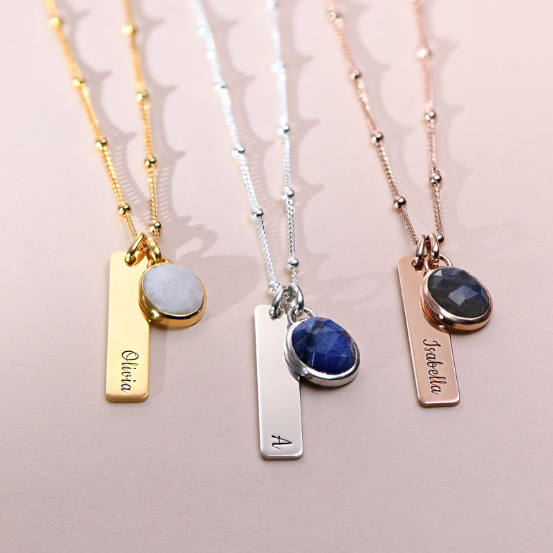 Bar Necklace in Silver with Semi-Precious Gemstone - 1