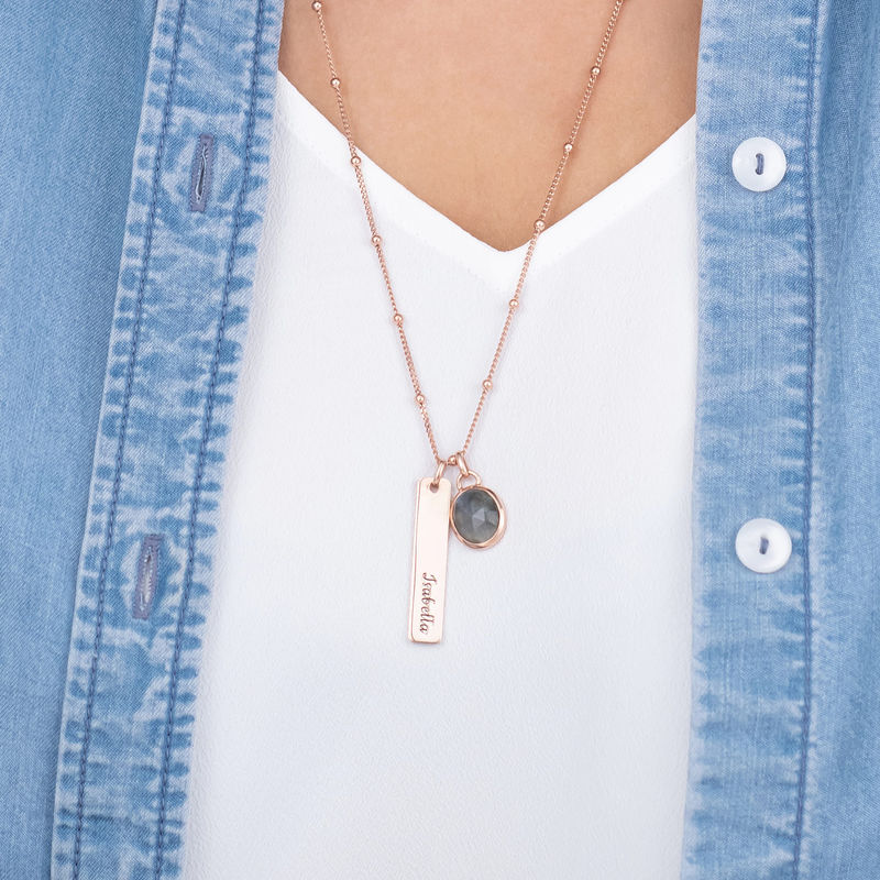 Bar Necklace in Rose Gold Plating with Semi-Precious Gemstone - 3