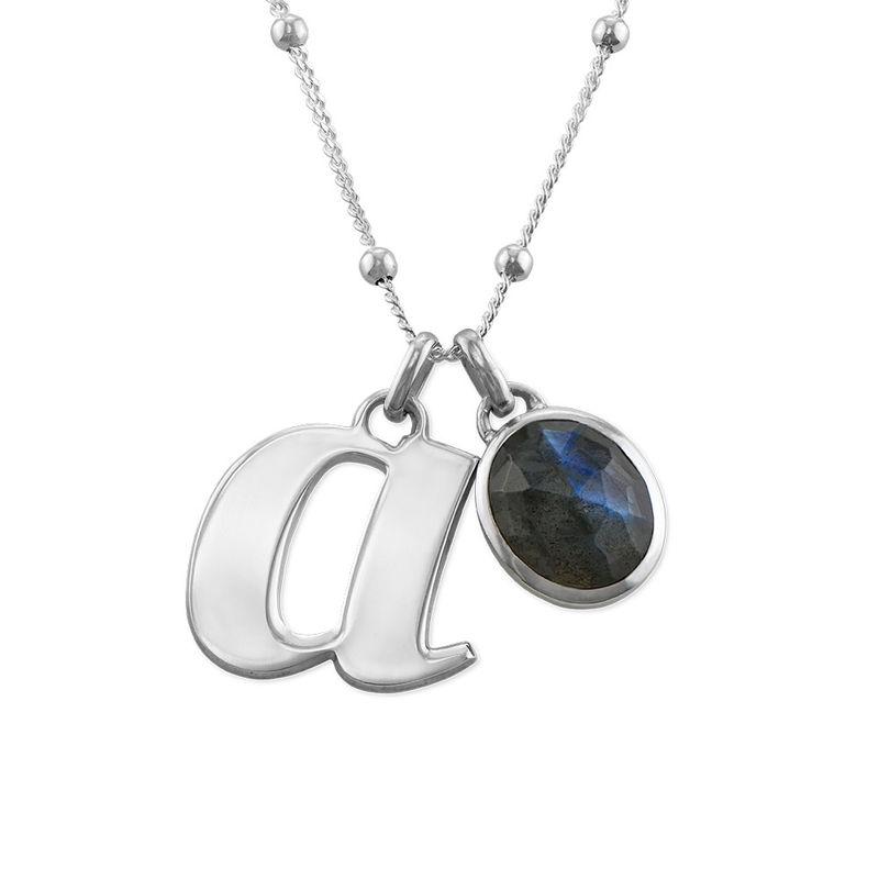 Initial Necklace in Silver with Semi-Precious Gemstone
