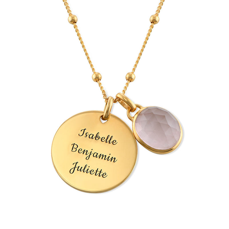 Disc Necklace in Gold Plating with Semi-Precious Gemstone