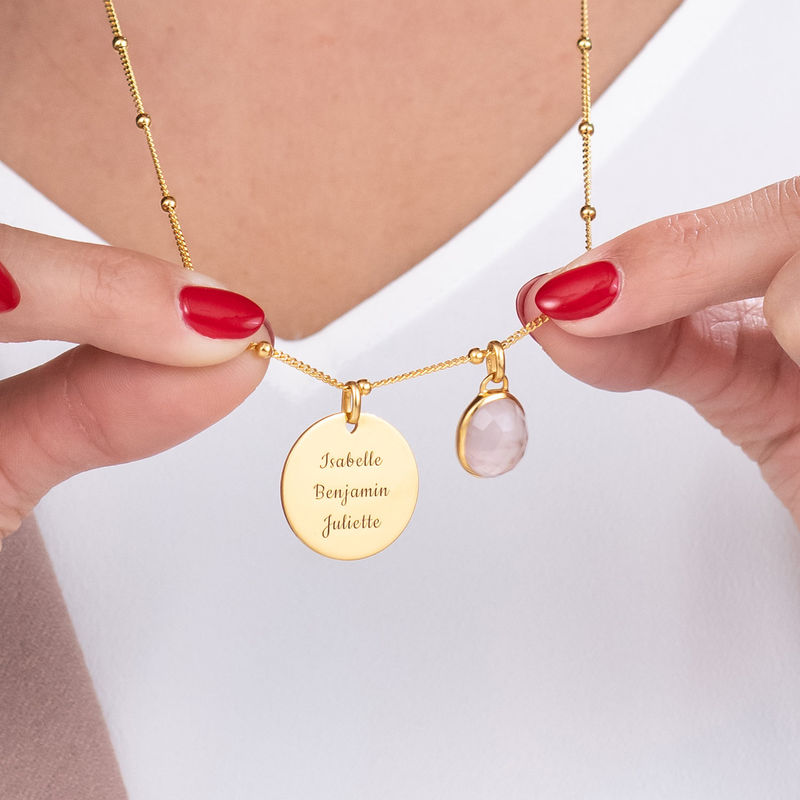 Disc Necklace in Gold Plating with Semi-Precious Gemstone - 3