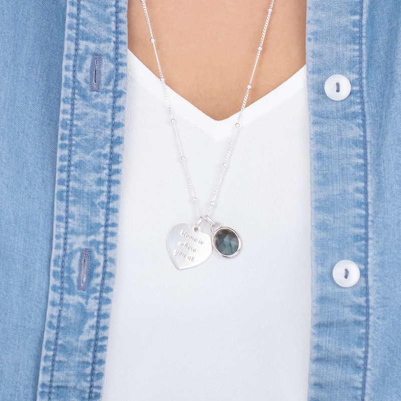 Heart Necklace in Silver with Semi-Precious Gemstone - 2
