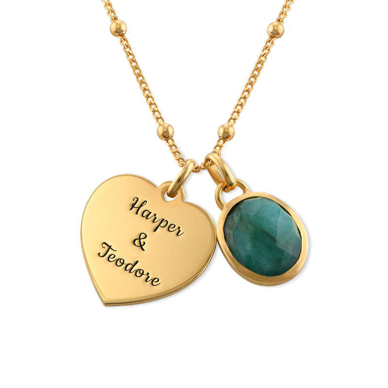 Heart Necklace in Gold Plating with Semi-Precious Gemstone