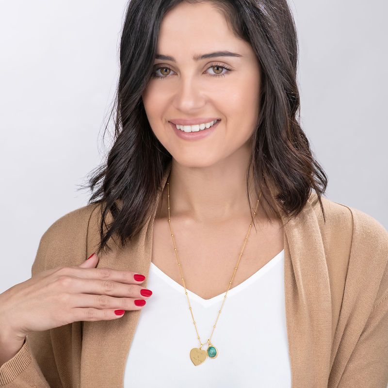 Heart Necklace in Gold Plating with Semi-Precious Gemstone - 1