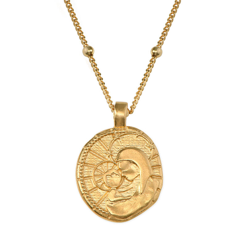 Jesus Christ & Mary Coin Necklace in Gold Plating