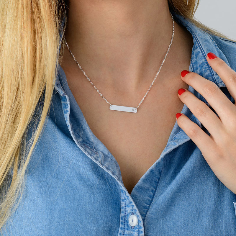 Horizontal Bar Necklace with Initial in Silver - 3