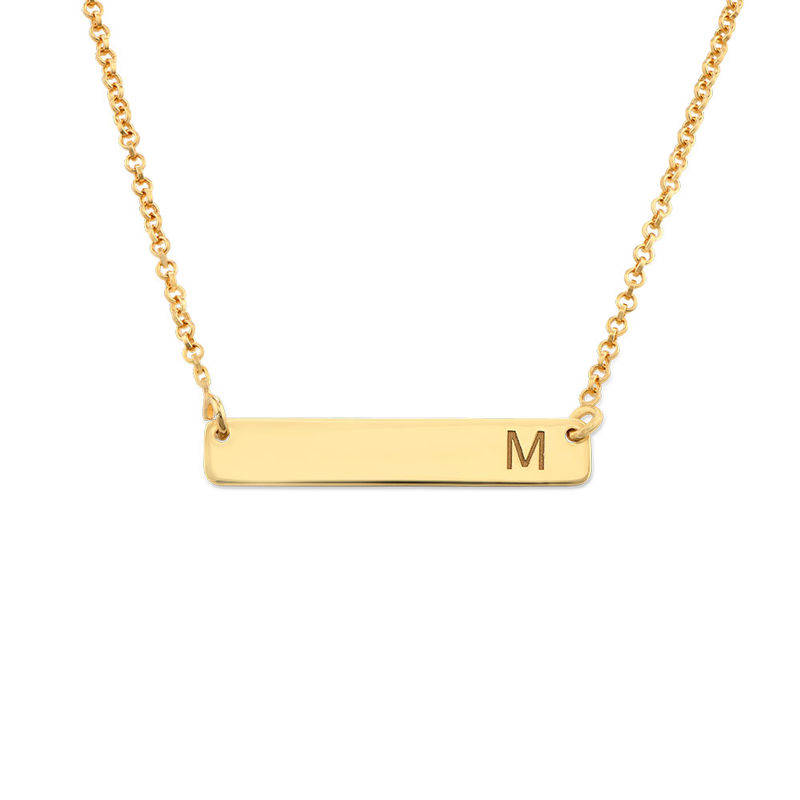 Horizontal Bar Necklace with Initial in Gold Plating
