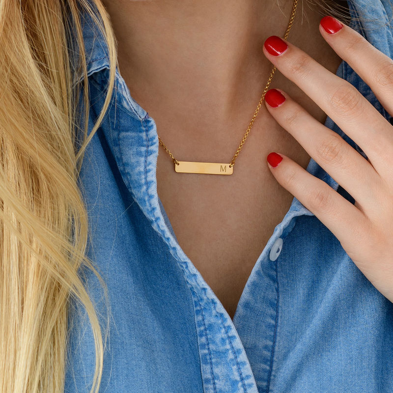Horizontal Bar Necklace with Initial in Gold Plating - 3