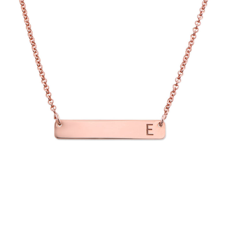Horizontal Bar Necklace with Initial in Rose Gold Plating
