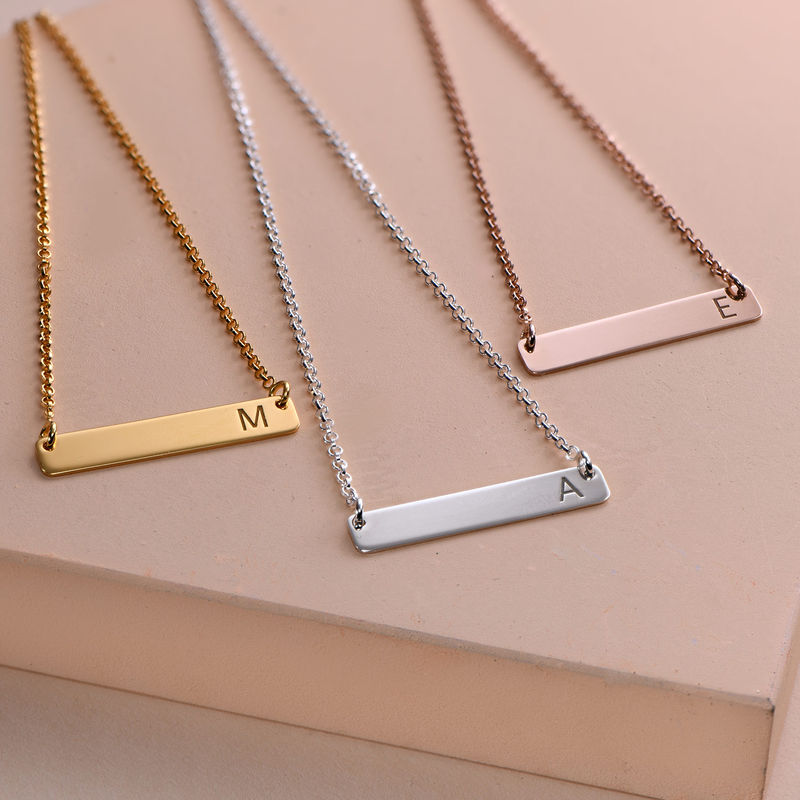 Horizontal Bar Necklace with Initial in Rose Gold Plating - 1
