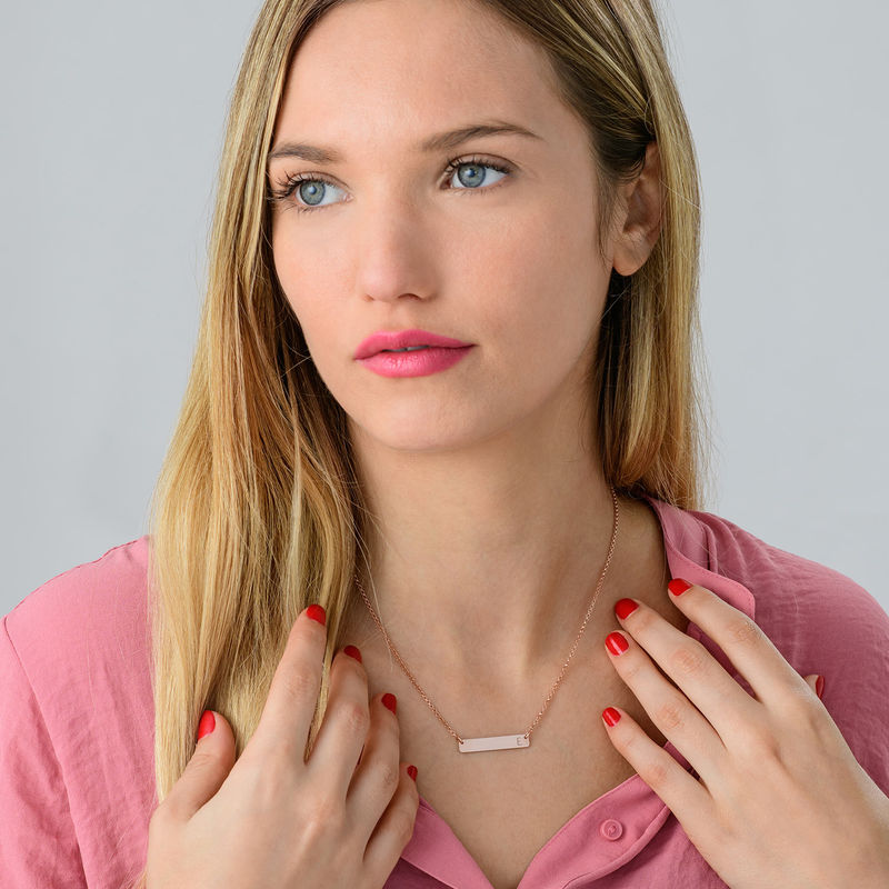 Horizontal Bar Necklace with Initial in Rose Gold Plating - 2