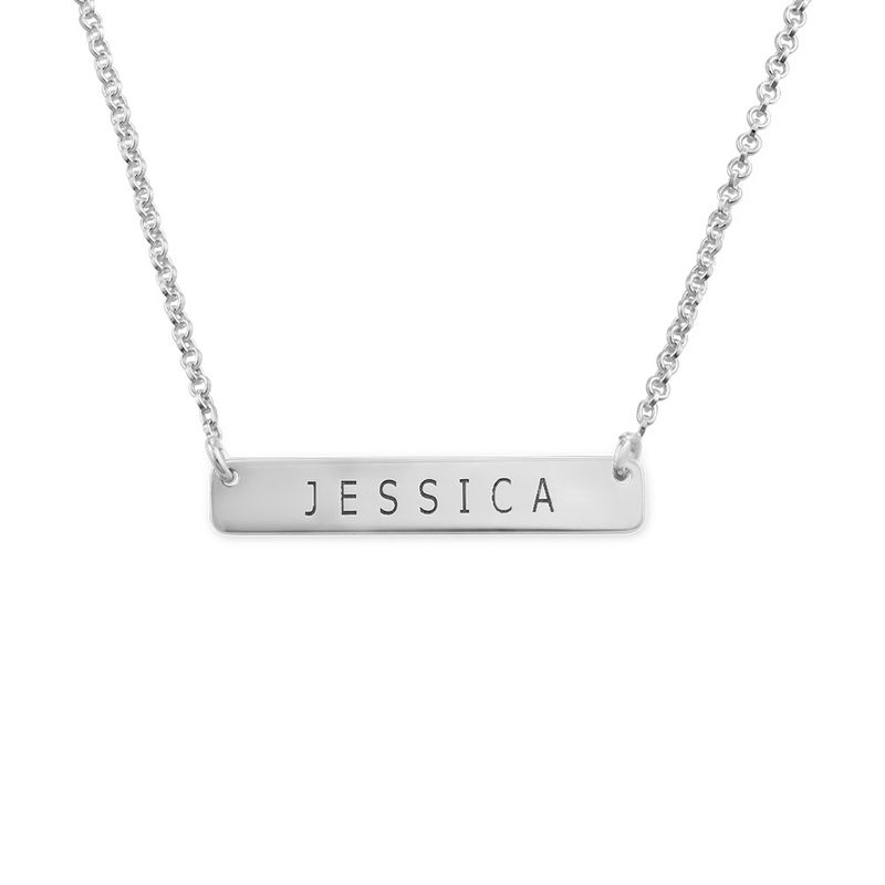 Nameplate Bar Necklace in Silver
