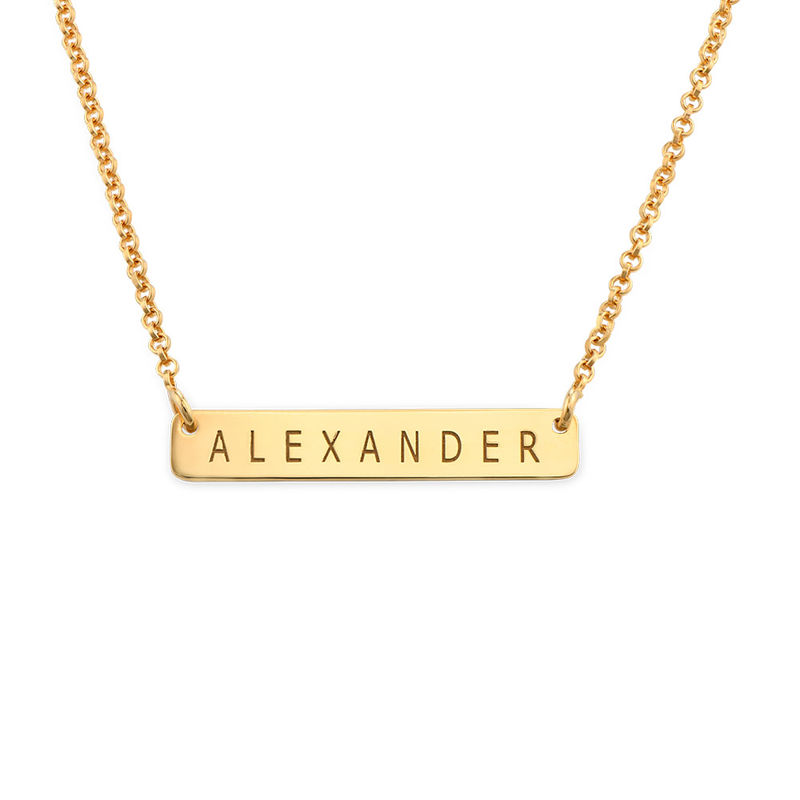 Nameplate Bar Necklace in Gold Plating