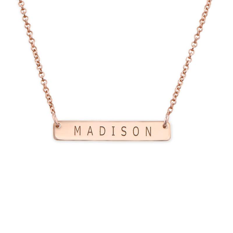 Nameplate Bar Necklace in Rose Gold Plating