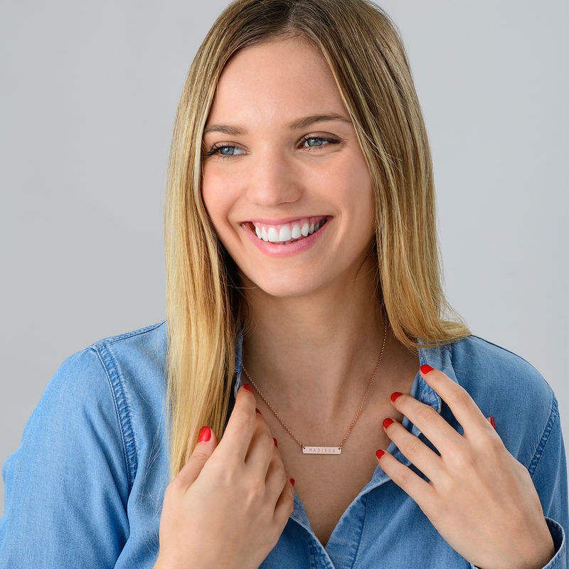 Nameplate Bar Necklace in Rose Gold Plating - 1