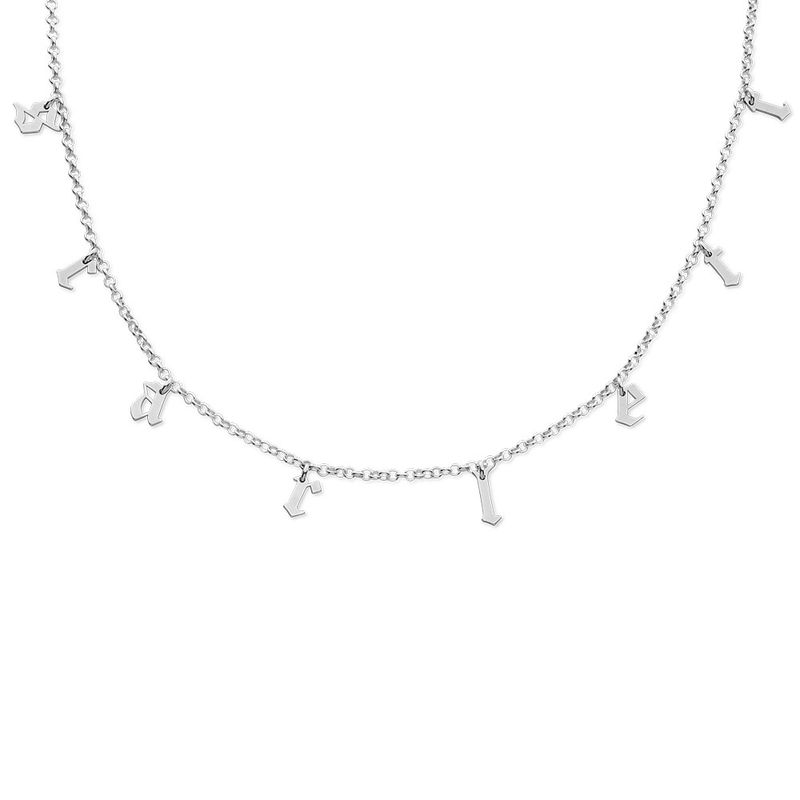 Name Choker with Gothic Font in Silver