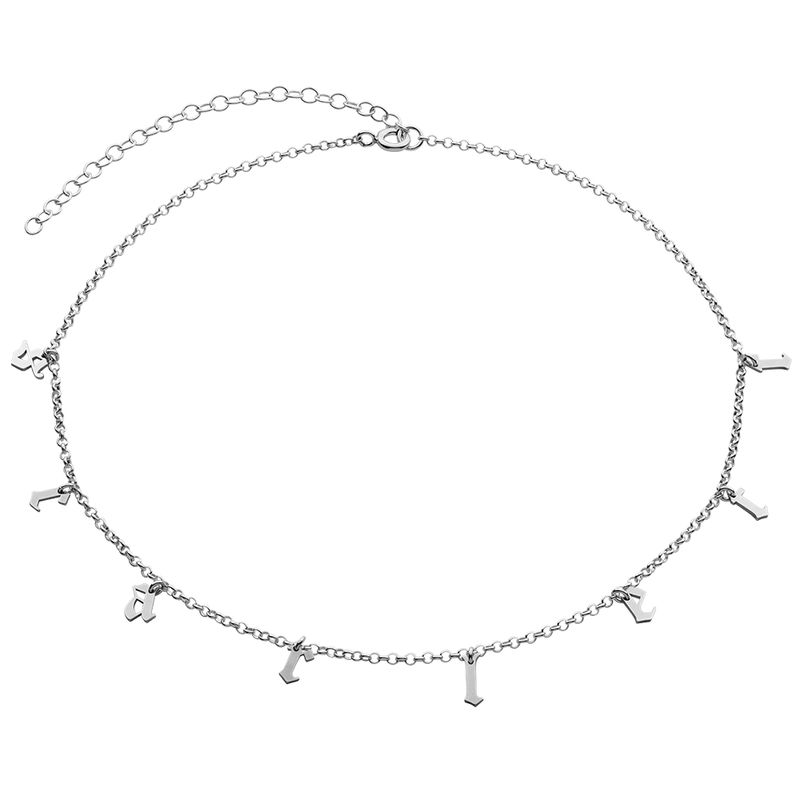 Name Choker with Gothic Font in Silver - 1