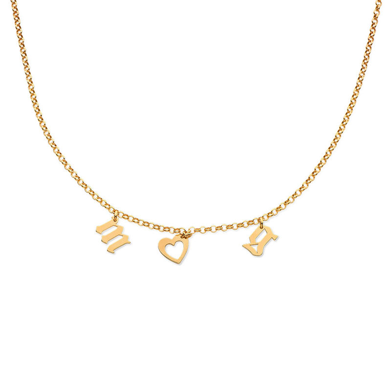 Name Choker with Gothic Font in Gold Plating - 1