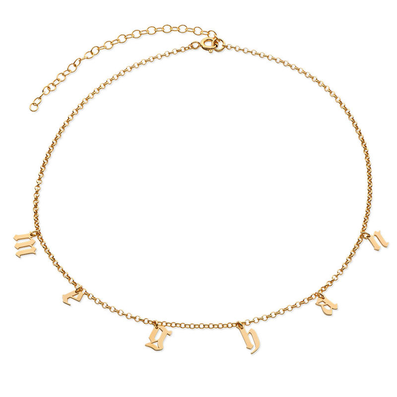 Name Choker with Gothic Font in Gold Plating - 2
