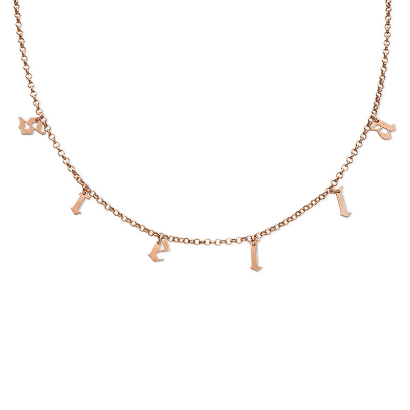Name Choker with Gothic Font in Rose Gold Plating