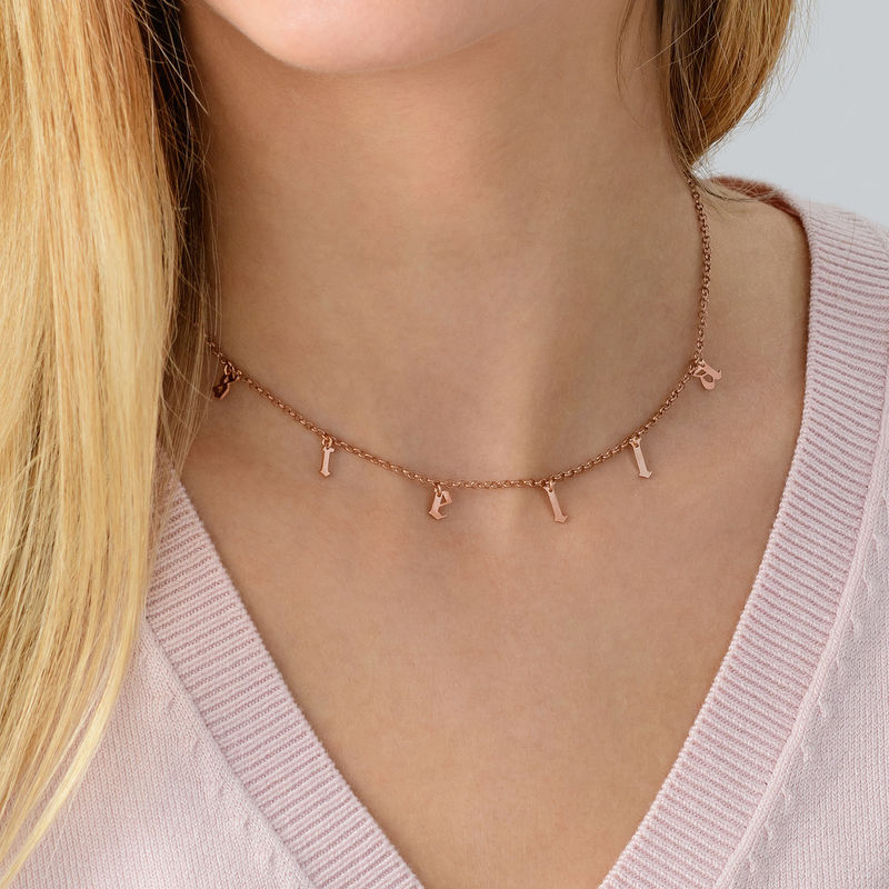 Name Choker with Gothic Font in Rose Gold Plating - 3