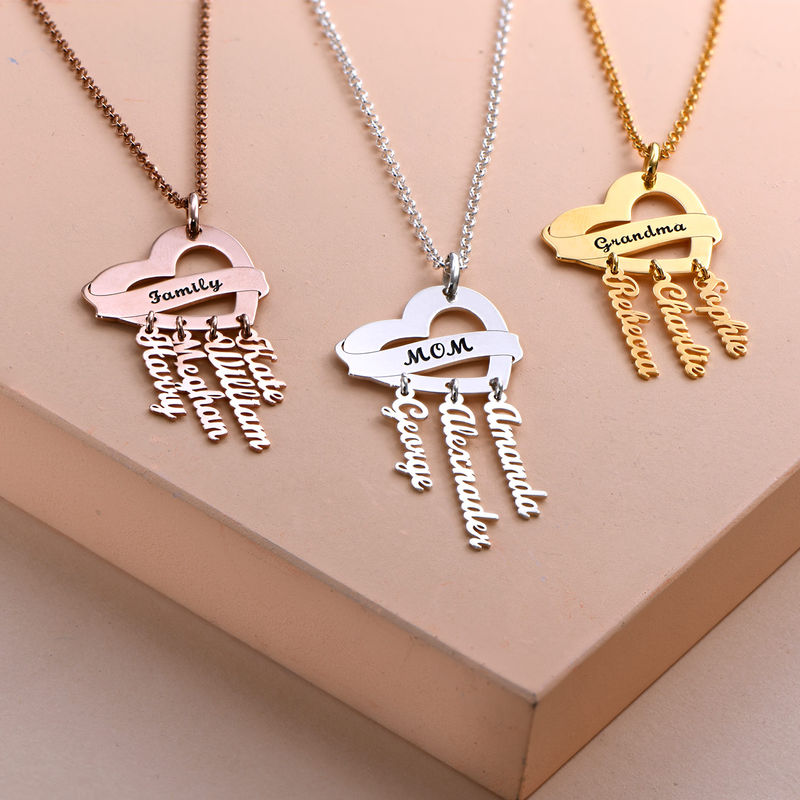 Mother Necklace in Rose Gold Plating with Name Charms - 1