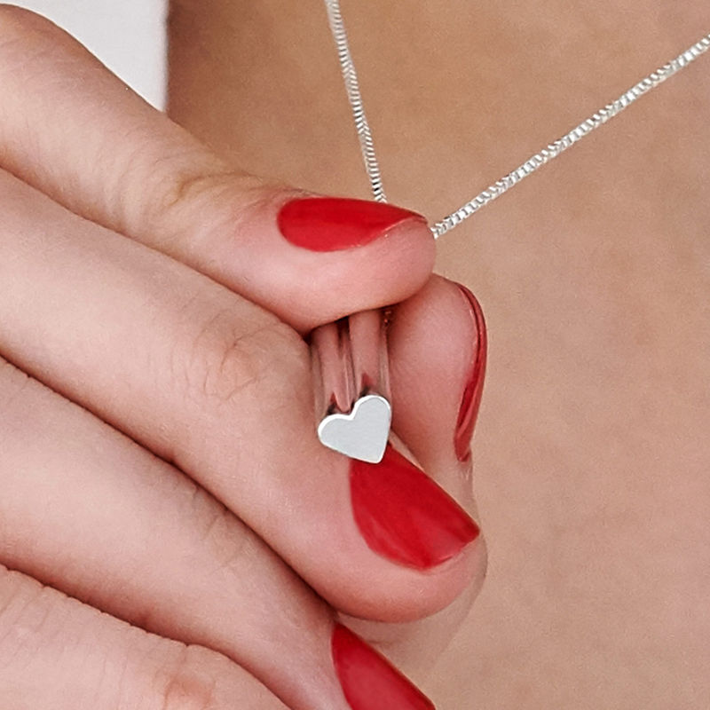 Heart Shaped 3D Bar Necklace- Sterling Silver - 5