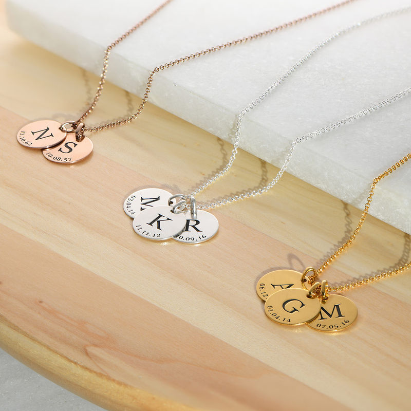 Personalized Initial and Date Necklace in Sterling Silver - 2