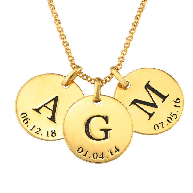 Personalized Initial and Date Necklace in Gold Plating - 1