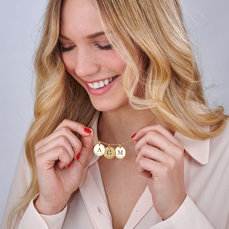 Personalized Initial and Date Necklace in Gold Plating - 4