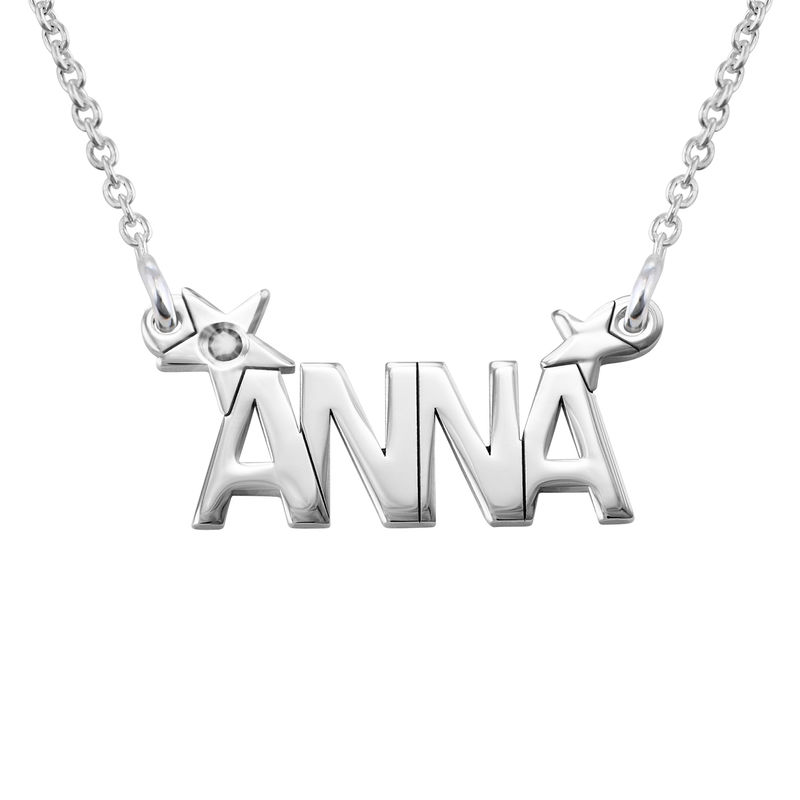 Star Name Necklace with Diamond in Silver