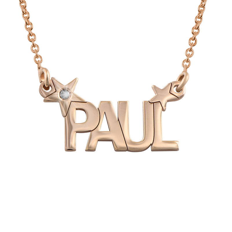 Star Name Necklace with Diamond in Rose Gold Plating