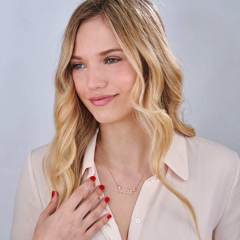 Star Name Necklace with Diamond in Rose Gold Plating - 1