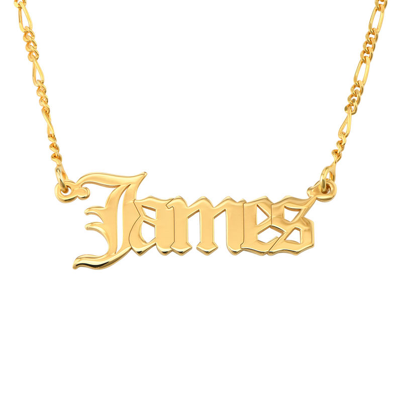 Custom Gothic Name Necklace in 18K Gold Plating - Unisex