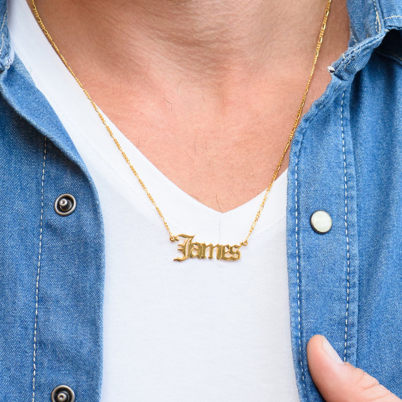 Custom Gothic Name Necklace in 18K Gold Plating - Unisex - 2