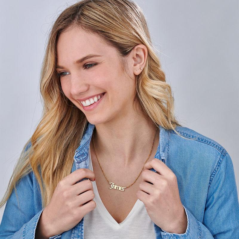 Custom Gothic Name Necklace in 18K Gold Plating - Unisex - 3