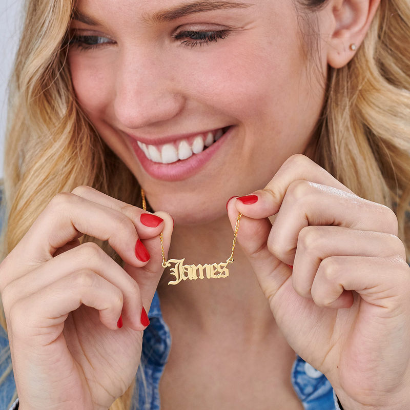 Custom Gothic Name Necklace in 18K Gold Plating - Unisex - 4